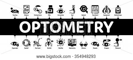 Optometry Medical Aid Minimal Infographic Web Banner Vector. Optometry Doctor Equipment And Pills Bo