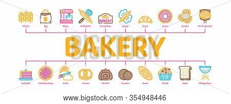 Bakery Tasty Food Minimal Infographic Web Banner Vector. Bakery Cake And Bread, Pie And Donut, Cooki