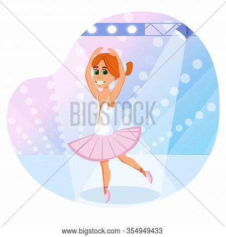 Tiny Redhead Ballet Dancer, Wearing Tender Pink Tutu And Pointes, Performing Solo Dance On Stage, Wi