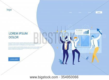 Successful Business People Satisfied With Common Achievements. Businessmen Cartoon Characters Rejoy