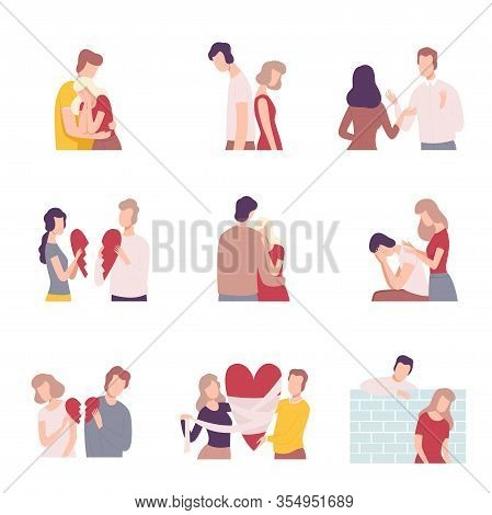 Couples Trying To Save Love And Friendship Collection Flat Vector Illustration