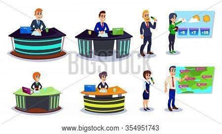 Cartoon Broadcasting Characters Set. Anchorman Tv Presenter, Male Reporter, Woman Journalist, Man Ne