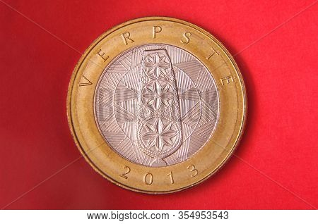 Lithuanian Coin 2 Litai Isolated On The Red Background