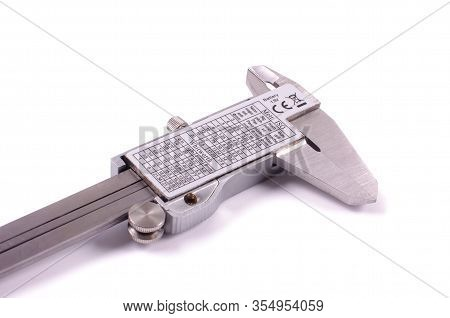 Stainless Steel Caliper Isolated On The White Background