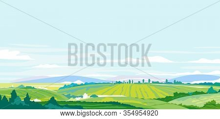 Green Agricultural Fields, Hills And Meadows, Summer Countryside With Green Hills, Rural Landscape,