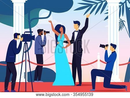 Celebrities Pair Arrival Flat Vector Illustration. Woman In Dress, Man In Tuxedo And Paparazzi Carto