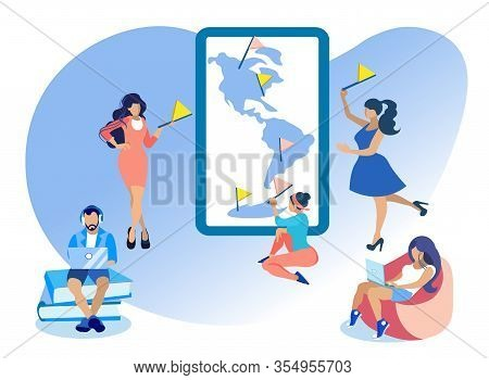Girl Characters Putting Point Marks Or Flags On Map Flat Cartoon Vector Illustration. Man In Headpho