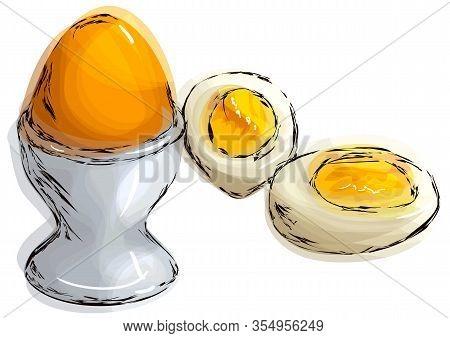 Boiled Egg, Illustration Of Boiled Egg Isolated On White Background