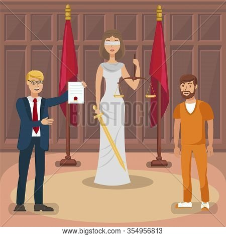 Court Trial, Legal Case Flat Vector Illustration. Themis, Attorney And Happy Convict Cartoon Charact