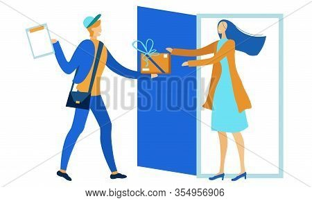 Courier Male Character Giving Woman Cardboard Package Box Cartoon. Flat Postal Man Brought Parcel To