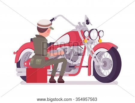 Mechanic Girl In Overall Servicing Motorbike. Attractive Female Skilled Worker, Motor Vehicle Servic