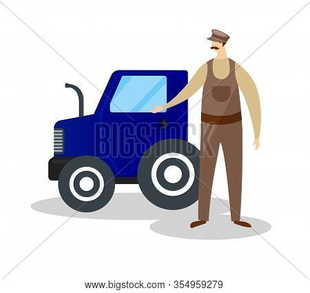 Whiskered Farmer In Cap And Overalls Standing Near Blue Tractor Isolated On White Background. Male A