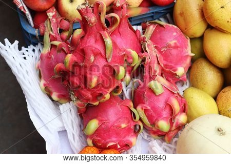 Dragon Fruit. Lots Of Dragon Fruits In The Shop