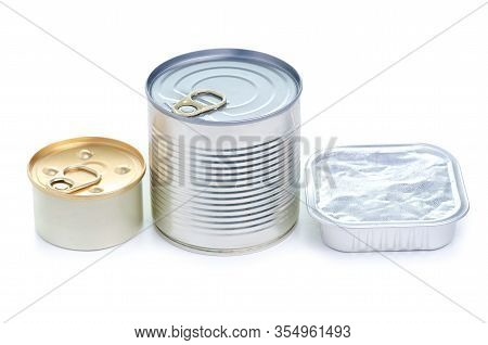 Jar Tin Canned Food Pate On White Background Isolation