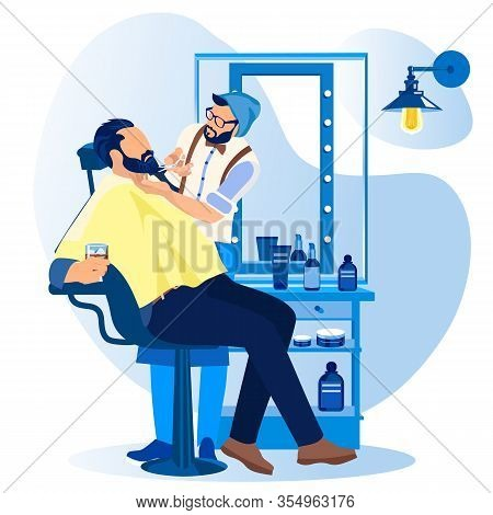Haircutter Cutting Beard To Man Customer Sitting In Armchair With Alcohol Drink In Glass At Barber S
