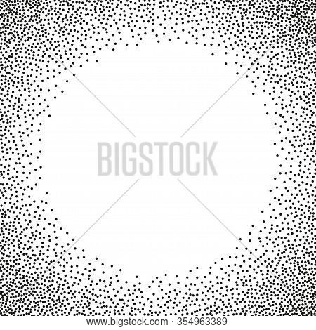 Stipple Circle Frame. Vector Dotted Halftone Background With Round Frame