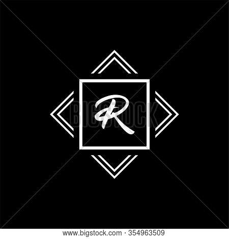 R Monogram Logo. Vector White Geometric Modern Symbol On A Black Background