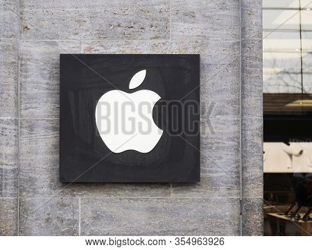 Hannover, Germany - March 2, 2020: Apple Logo On Facade Of Local Apple Store.