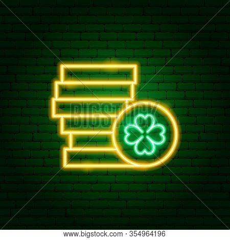 Irish Gold Neon Sign. Vector Illustration Of Holiday Promotion.