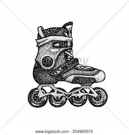 Dotwork Roller Skates. Vector Illustration Of T-shirt Design. Tattoo Hand Drawn Sketch.