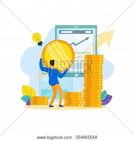 Man Make Cash Contribution To Business. Cash Contribution Business. Successful Businessman. Vector I