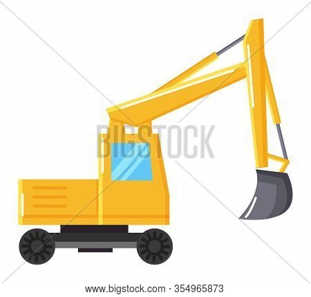 Digger Machinery Or Bulldozer With Shovel Bucket. Excavator Isolated Icon, Transportation For Mining