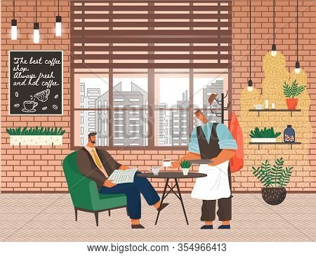 Man Reading Newspaper Served By Waiter Giving Coffee To Client. Interior Of Coffeehouse With Window