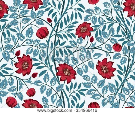 Vintage Floral Seamless Pattern With Burgundy Flowers And Blue Foliage On Light Background. Middle A