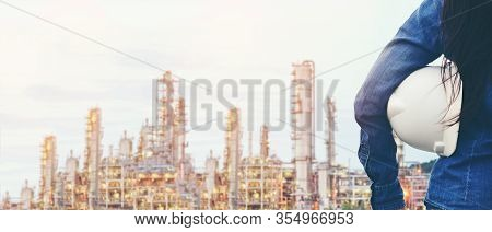 Engineer Inspector Construction Building Power Plant Energy Industry In Project Site.  Close Up Hand