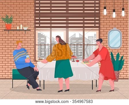 Two Women Prepare Table For Party. Banquet, Celebration With Food And Drinks. Friends Spending Time