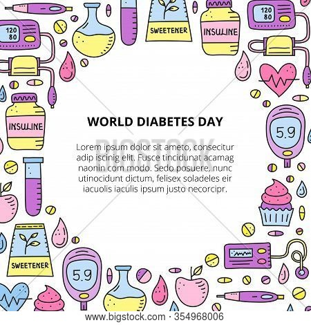 Poster With Doodle Colored Diabetes Items, Including Insulin Pen, Pump, Tonometer, Blood Drop, Gluco