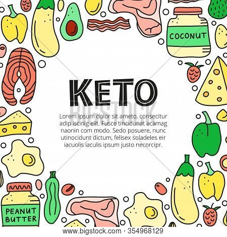 Poster With Doodle Colored Foods For Ketogenic Diet Including Cheese, Meat, Salmon, Avocado, Eggs, B