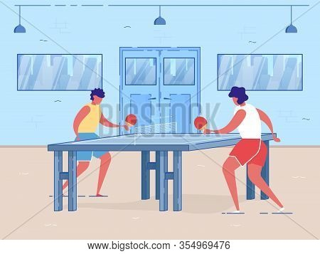 Professional Table Tennis Players. Cartoon People Playing Ping Pong With Rackets In Gym Indoors Vect