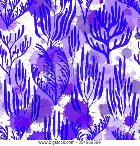 Coral Polyps Seamless Pattern. Paint Splashes Drops Watercolor Background. Aquatic Plants Repeating