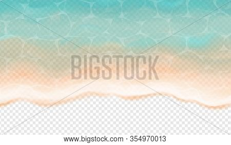 Top View Of Sea Tide Isolated On Transparent Background. Vector Illustration With On Realistic Ocean
