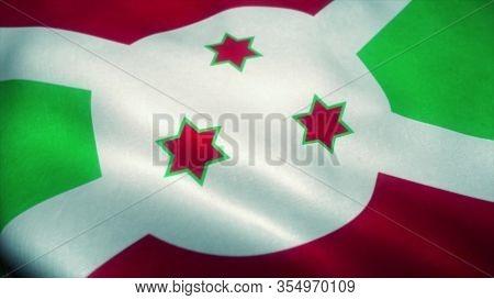 Burundi Flag Waving In The Wind. National Flag Of Burundi. Sign Of Burundi. 3d Rendering.