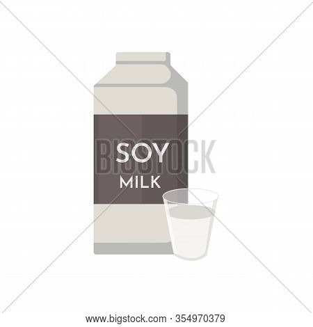 Vector Soya Product And Foodstuff. Soy Milk Cartoon Flat Illustration.