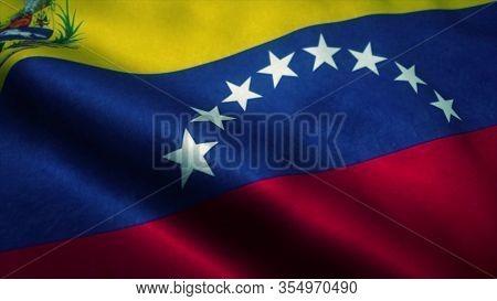 Venezuela Flag Waving In The Wind. National Flag Of Venezuela. Sign Of Venezuela. 3d Rendering.