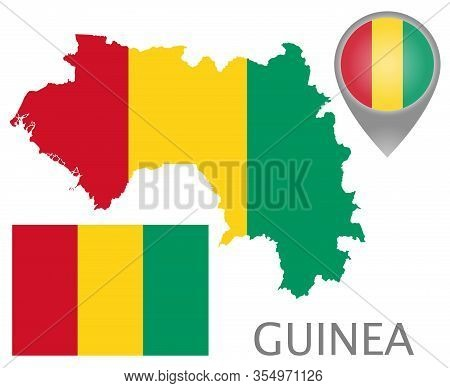 Colorful Flag, Map Pointer And Map Of Guinea In The Colors Of The Guinean Flag. High Detail. Vector