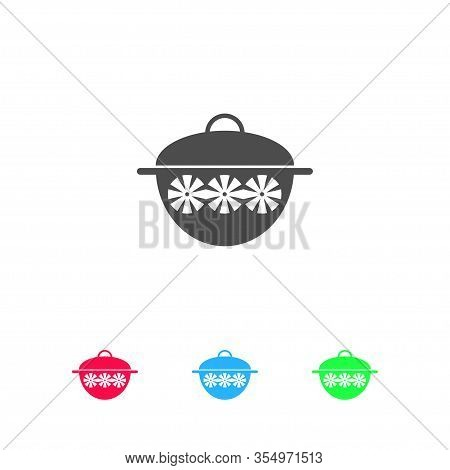 Pot Icon Flat. Color Pictogram On White Background. Vector Illustration Symbol And Bonus Icons