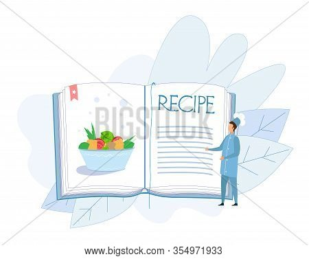 Tiny Man Chef Character In Uniform Presenting Stewed Vegetables Dish Or Salad From Fresh Ingredients