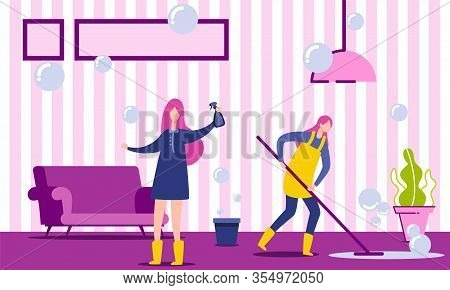 Two Characters Doing Housework. Woman Housekeeper Cleaning Floor In House. Housewife Or Cleaning Com