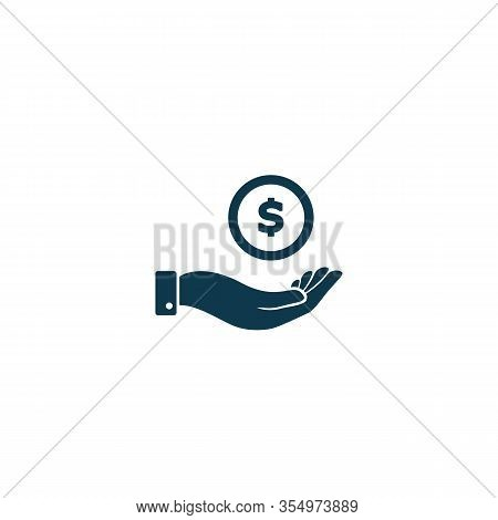 Pictograph Of Money In Hand. Vector Icon Flat Design. Coin Dollar In Hand Symbol