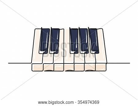 Continuous One Line Drawing Of A Piano Keyboard
