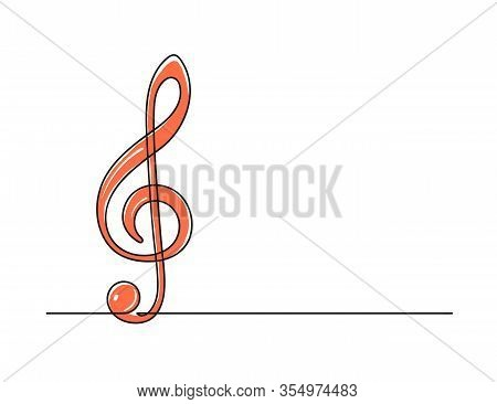 Continuous One Line Drawing Of A Treble Clef