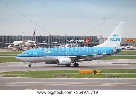 Amsterdam, Netherlands - December 6, 2018: Klm Boeing 737-700 At Schiphol Airport In Amsterdam. Schi