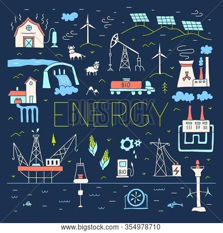 Fossil And Renewable Energy Sources. Vector Composition On The Theme Of Energy Production And Resour