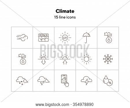 Climate Icon Set. Temperature, Sun, Sunshine. Summer Concept. Can Be Used For Topics Like Weather, M