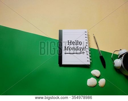 Hello Monday Text On Notepaper In Vintage Style