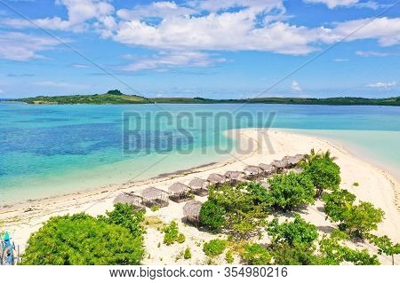 Tropical Island With Palm Trees And A White Sandy Beach. Caramoan Islands, Philippines. Beautiful Is